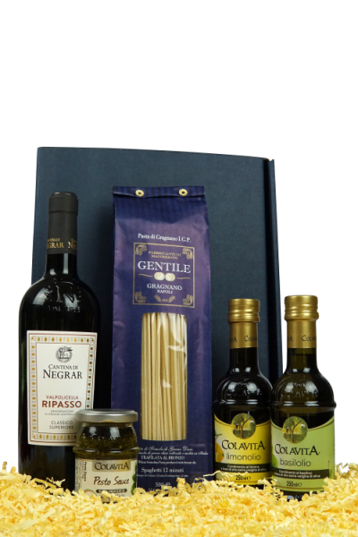 """Präsent """"Buon Gusto"""" - Wein und Feinkost in hochwertiger Geschenkverpackung"""