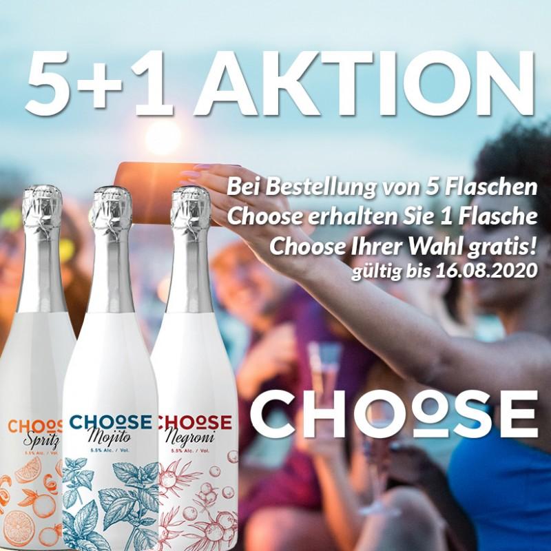 Choose 5 + 1 - 5 Flaschen kaufen und Ihren Lieblingscocktail gratis dazu!
