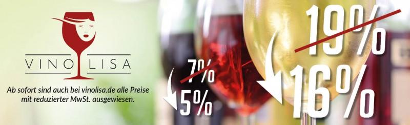 Mehrwertsteuersenkung auch bei Vinolisa.de