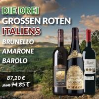 Die 3 großen Roten Italiens: Brunello, Amarone, Barolo