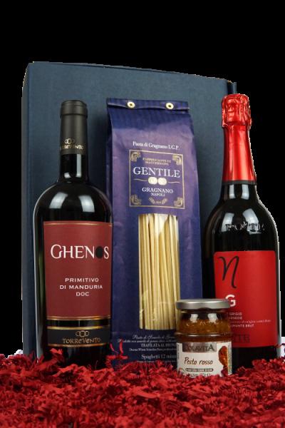 """Präsent """"Passione"""" - Wein und Feinkost in hochwertiger Geschenkverpackung"""